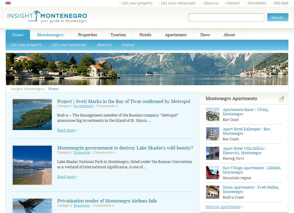 Insight Montenegro Website